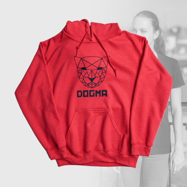 red hoodie with blue mountain lion design