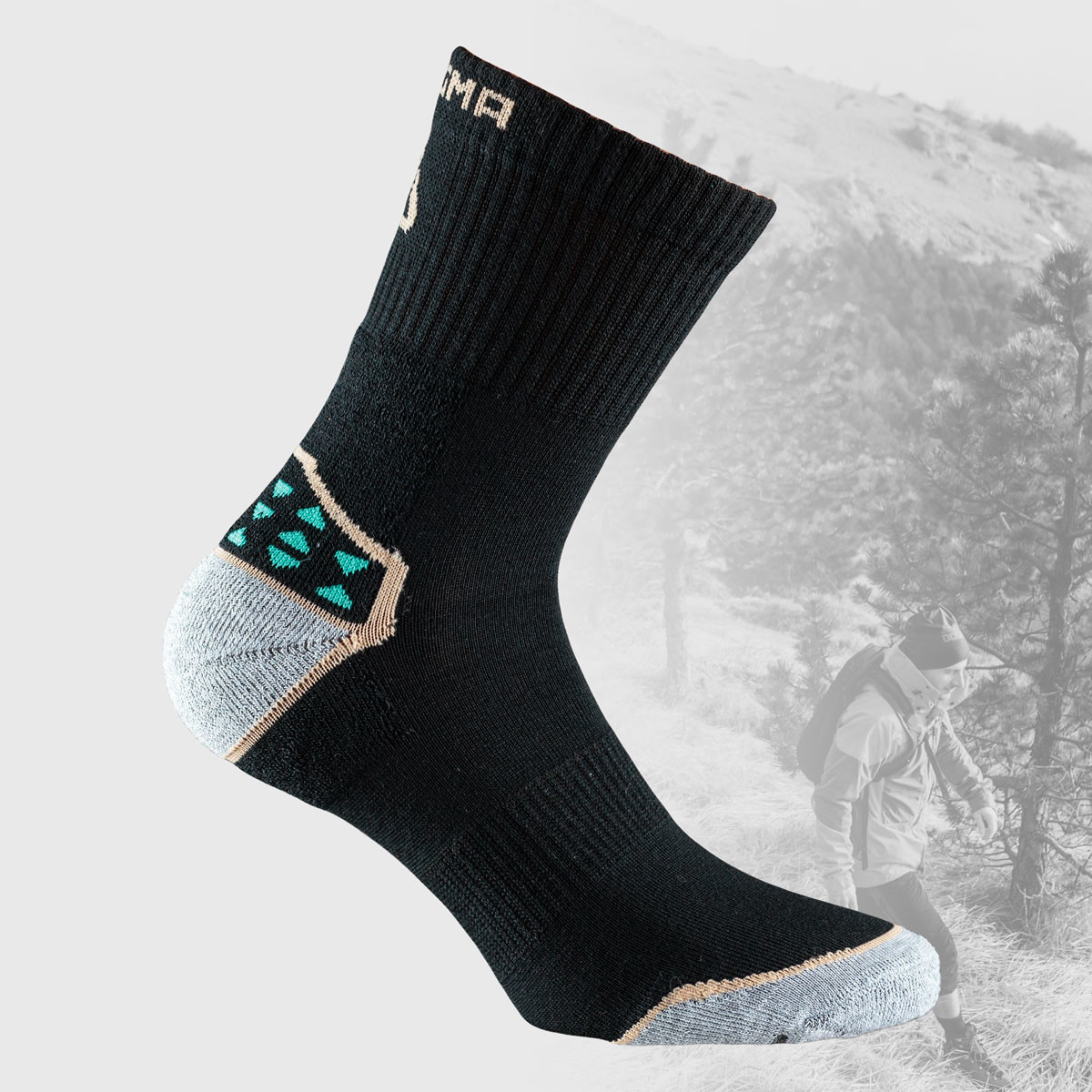 black hiking socks with small colored details