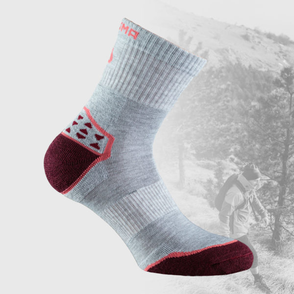 light grey melange hiking socks with red details