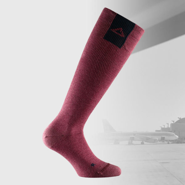compression knee high socks for traveling in burgundy red color