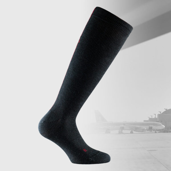 compression socks for traveling in black color and with discrete design in dark red