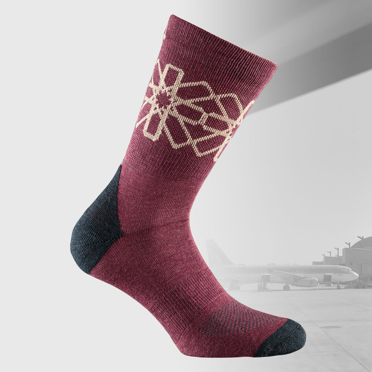 travel socks in burgundy red with middle east pattern