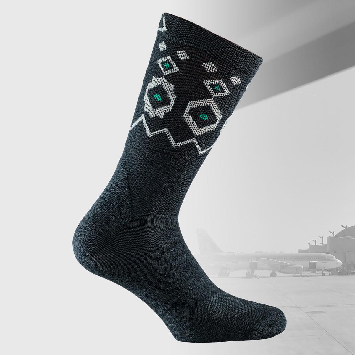 travel socks in black color with nordic design