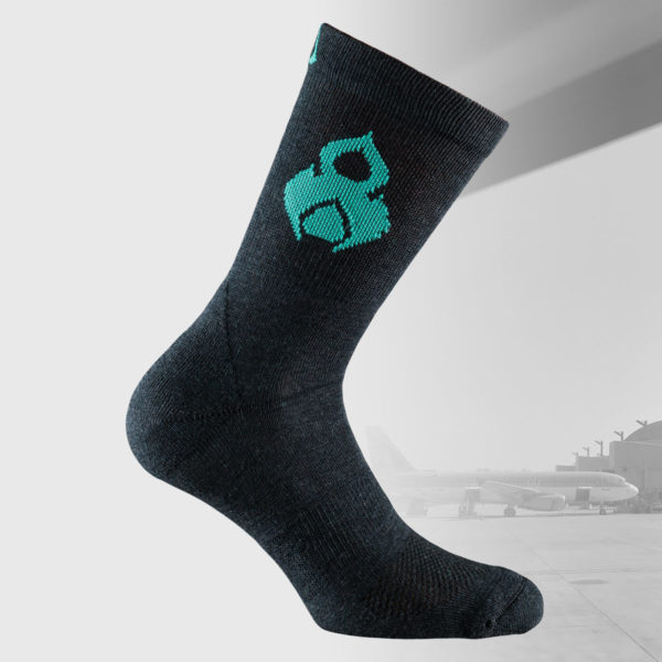 travel socks in black color with thai design