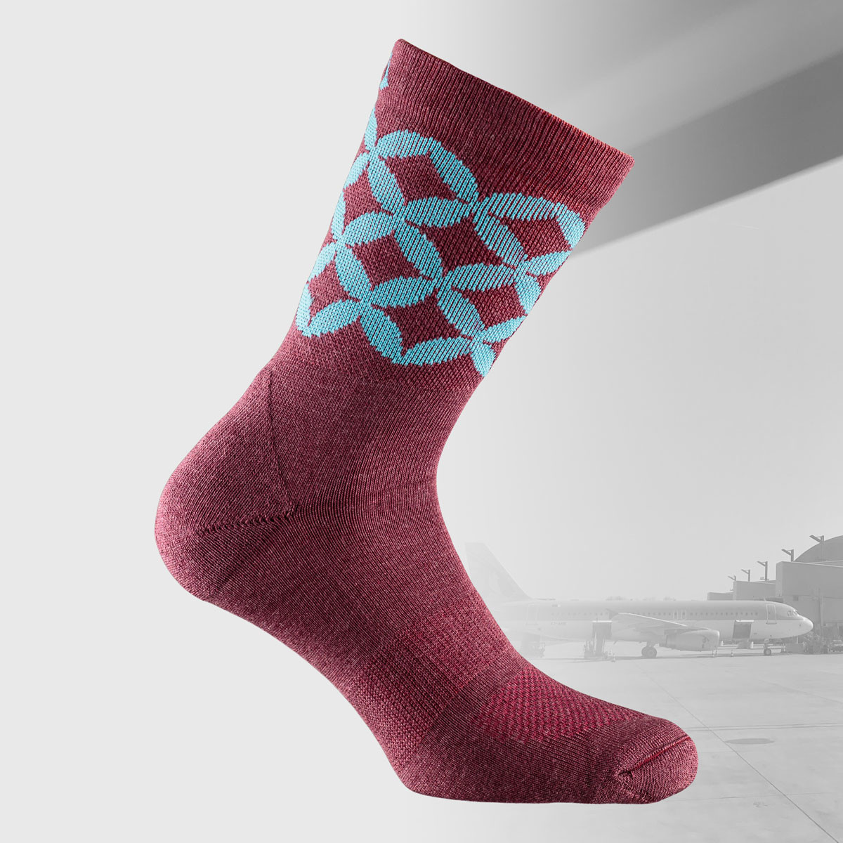 travel socks in burgundy colors with moroccan design