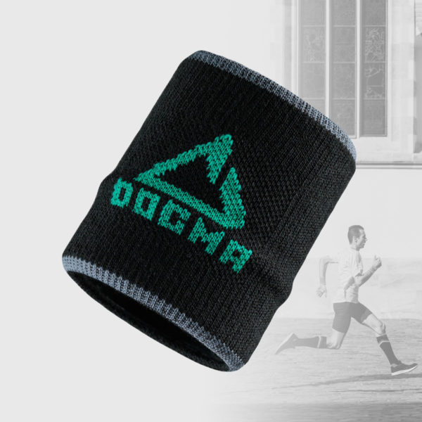 wrist band in black with green dogma logo
