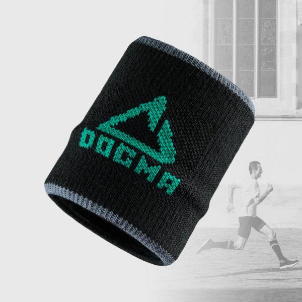 wrist band in black with green dogma logo